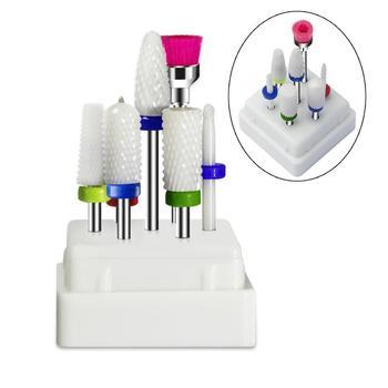 7 шт. набор керамических сверл для ногтей с коробкой фреза маникюрный станок аксессуары электрические пилки для ногтей инструменты для диза...