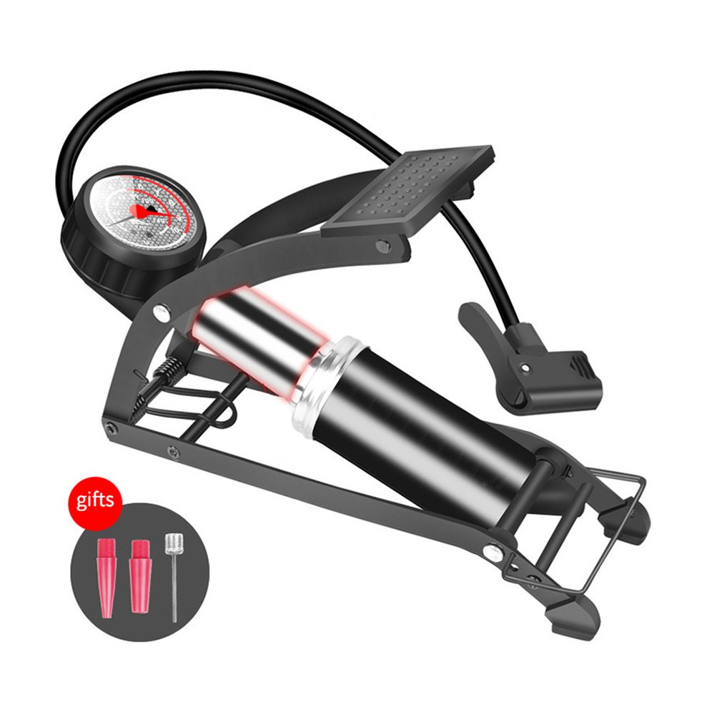 Portable High-pressure Foot Pump 0-10 Bar Foot Operated Air Pump Single/Double Cylinder Pedal Floor Bike Inflator