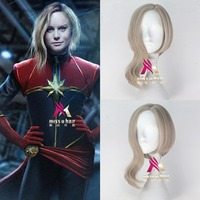Movie Captain Marvel wig Play Hair The Avengers Comic Cosplay Marvel Halloween Costume Synthetic Refractory Fiber Wigs+wig cap