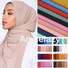 10pcs/lot Women Chiffon Scarf Plain Bubble Chiffon Hijab Shawls Wraps Head