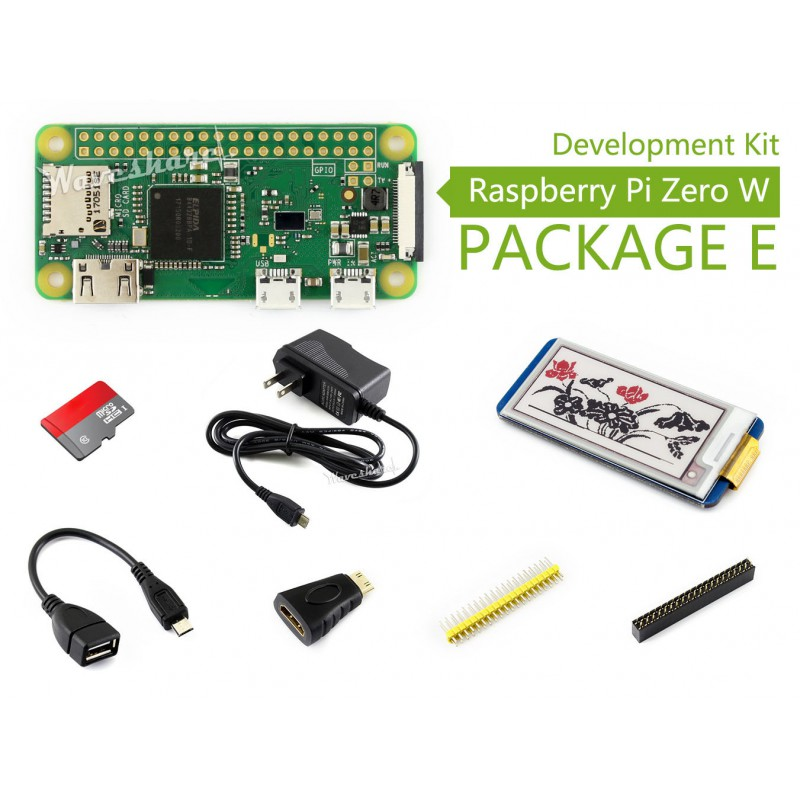 Raspberry Pi Zero W Package E Basic Development Kit 16GB Micro SD Card, Power Adapter 2.13inch E-Paper HAT, And Basic Components