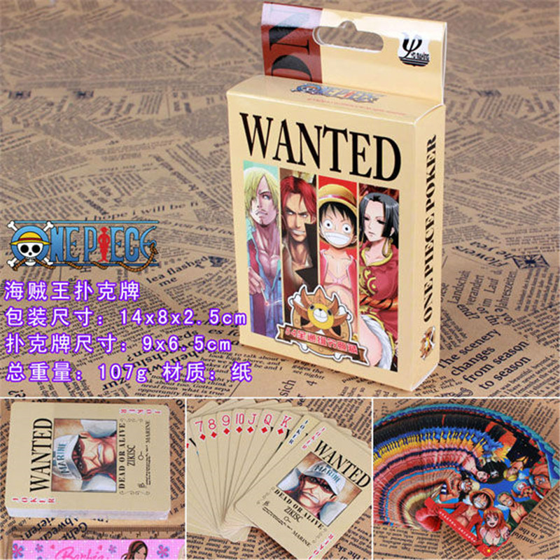 10 Boxes/lot Anime ONE PIECE Poker Cards Cosplay Wanted Luffy Zoro Board Game Cards With Box Playing Cards Desktop Game Card