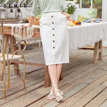 SEMIR Women Skirt 2020 Summer New White Short Skirt Mid-length Retro Single-Breasted Fashion skirts for woman 2020 new woman skirts summer fashion polka dot big skirt short skirt leopard street hipster wave skirt