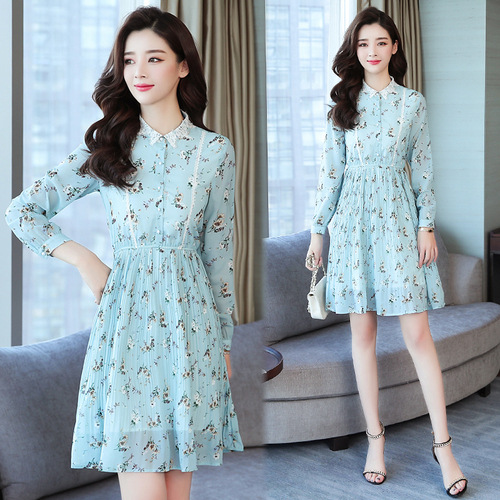 2019 Spring New Style WOMEN'S Dress Retro Floral First Love Skirt Pleated Skirt Korean-style Slimming Stand Collar Hipster Dress