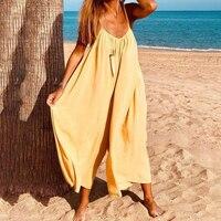 Женский комбинезон без рукавов Летний модное с лямками спагетти ремень в богемном стиле ретро широкие брюки