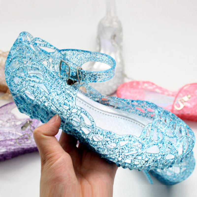 5 Colors  Girls Sandals Kids Shoes Princess Jelly Wedge Fashion Soft Crystal Shoes Birthday Party Cosplay Princess Elsa Shoes