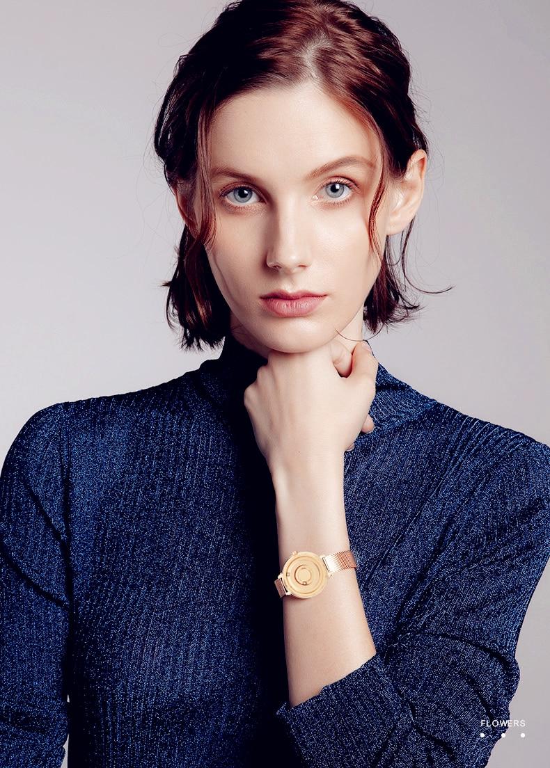 Eutour new original magnetic black gold trend women's watch female student quartz temperament fashion real belt stainless steel 6