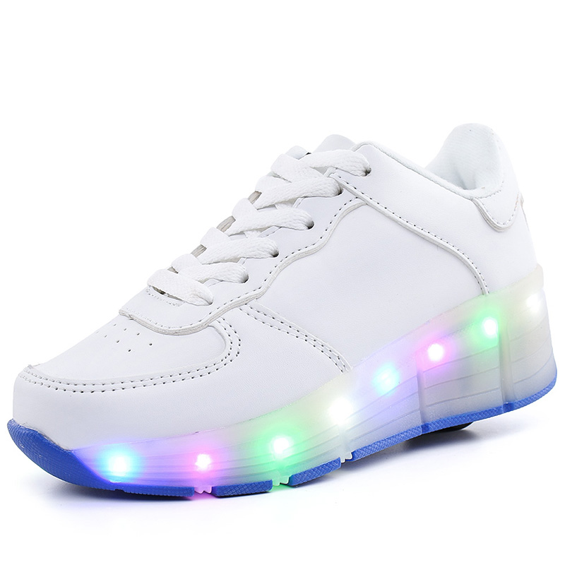 New Children Roller Skate Shoes White Boys Girls 2020 LED Light Sneakers With Wheel Boy Girl Casual Shoe Zapatillas Ruedas