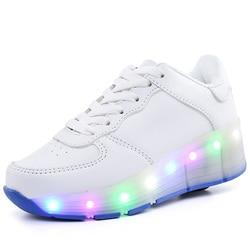 New Children Roller Skate Shoes White Boys Girls 2020 LED Light Sneakers with Wheel Boy Girl Casual Shoe Zapatillas Ruedas