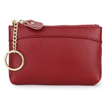 women Korean version mini coin purse female first layer leather zipper bag new multi-function wallet short key bag coin purse недорого