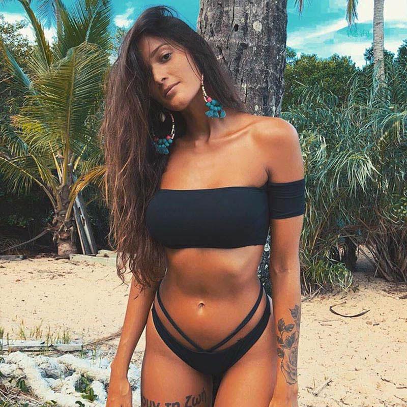 2020 Sexy Women One Shoulder Bikini Female Bather High Waist Swimsuit Brazilian Bathing Suit Swimming Woman Swimwear 4