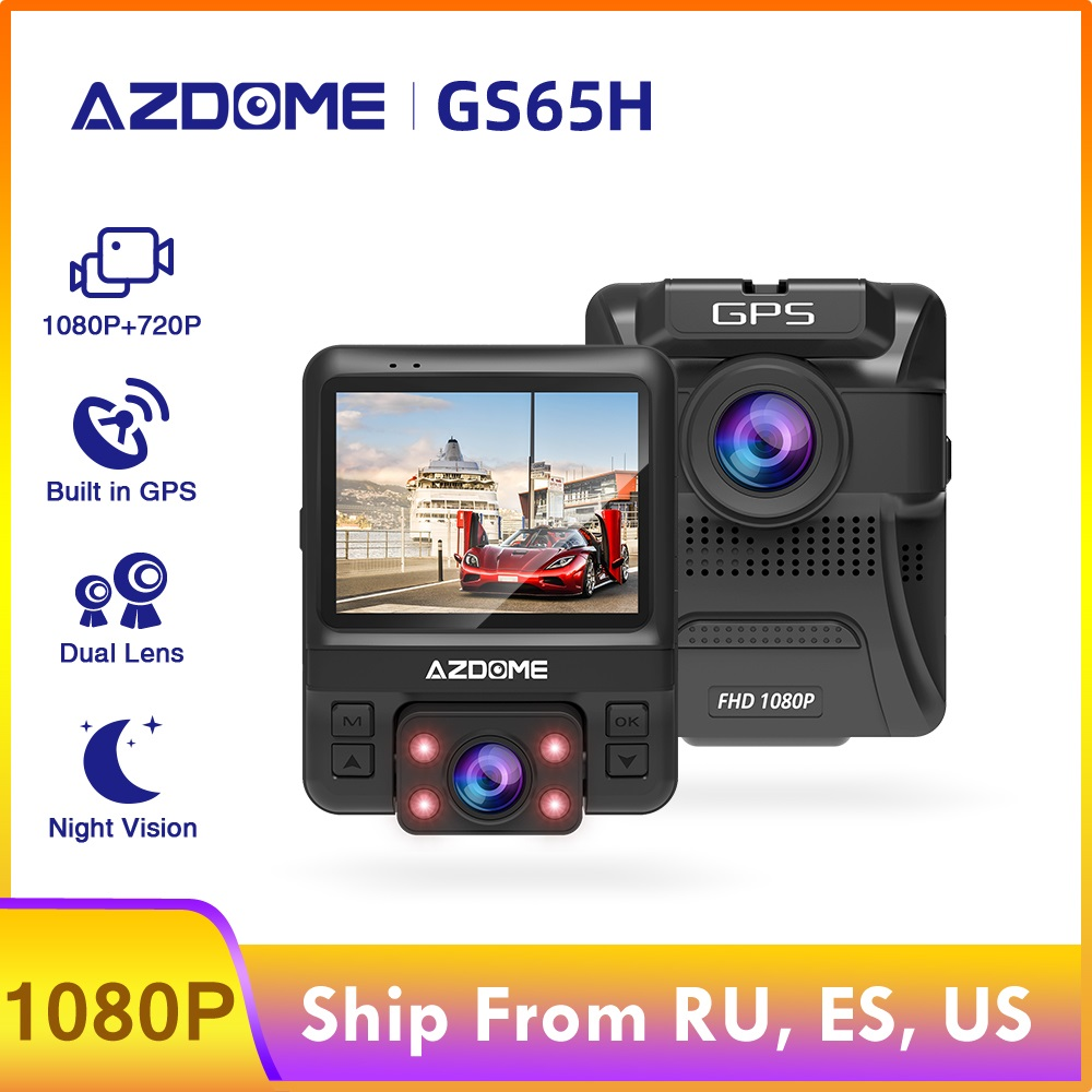 AZDOME Car DVR GS65H Mini Dual Lens Dash Cam Front Full HD 1080P / Rear 720P Car Camera Night Vision GPS For <font><b>Uber</b></font> Lyft Taxi image