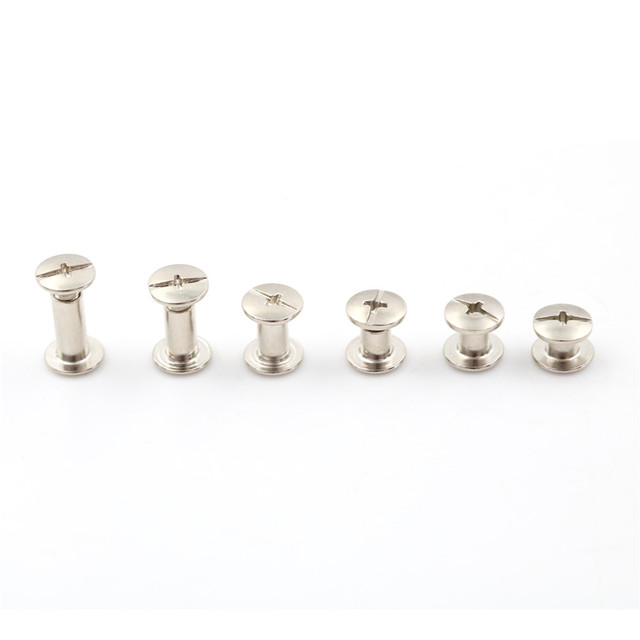 20PCS 6Sizes M5*12mm M5*10mm  M5*8mm  M5*6mm M5*5mm M5*4mm Nickel Binding Screws Nail Rivets For Bag Parts Accessories 5x6mm 4