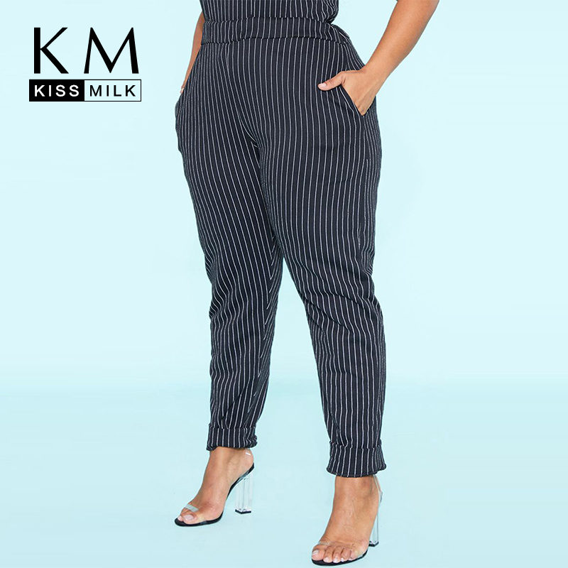 Kissmilk Plus Size Large New Fashion  Striped Elastic Elastic Waist Trousers Black Strechy Working Stretch Workout Pants