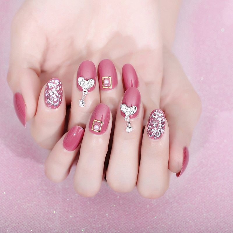 Wearable Fake Nails Manicure Patch Douyin Deft Hot Selling Manicure Stickers 24 Piece Wine Red Pendant Manicure