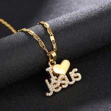 2020 Religious I Love Jesus Necklaces for Women Heart Pendant Necklace Christian Jewelry Accessories Gift Metal cool stylish i love jesus bracelet brown