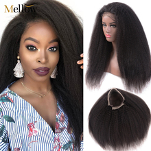 Malaysian Kinky Straight Wig Glueless Lace Front Human Hair Wigs for Black Women Coarse Yaki Straight Wigs with Baby Hair