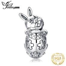 JewelryPalace Пасха яйца Кролик стерлингового серебра 925 бусины подвески оригинальный браслет оригинальное оформление