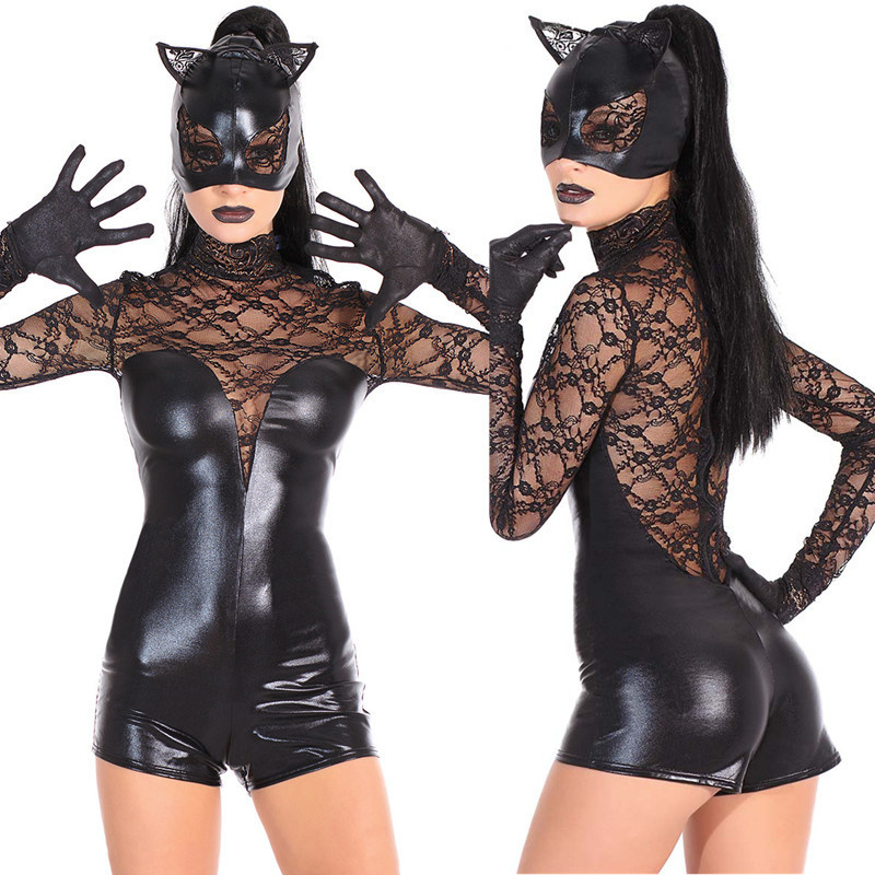 Halloween <font><b>Costumes</b></font> Adult Women Deluxe Leather Lace <font><b>Sexy</b></font> Set Cosplay <font><b>Cat</b></font> Lady Catwoman <font><b>Costume</b></font> Catsuit Jumpsuit Cosplay <font><b>Costumes</b></font> image