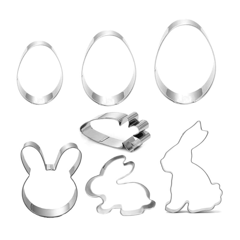7pcs/set Stainless Steel Easter Bunny Eggss Biscuit Cutter Cookie Cake Mould Tool