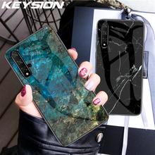 KEYSION marmur etui ze szkła hartowanego dla Honor V30 20 9X Pro 10i V20 8X ochronna tylna pokrywa dla Huawei Mate30 20 P30 Pro Y9 2019 tanie tanio Aneks Skrzynki Marble texture Tempered Glass Odporna na brud
