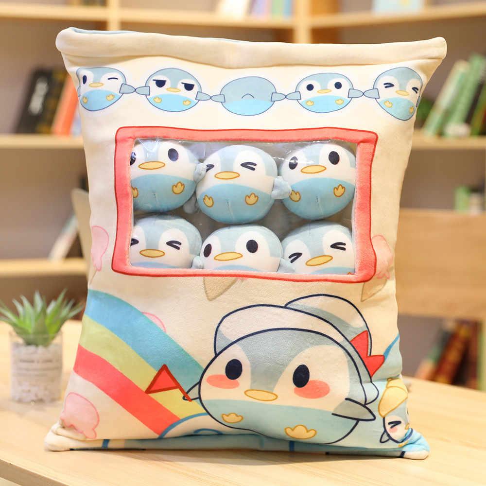 8 pièces mini pingouin en peluche dans un oreiller créatif en peluche lapin Corgi chien pouding collations en peluche dans un coussin