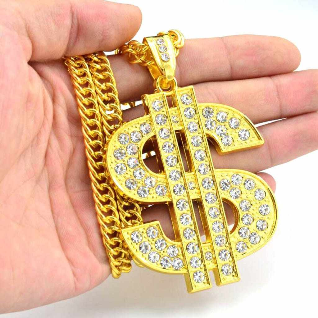 Trend Sign przesadzone mężczyźni i wisiorek podkreślający osobowość naszyjnik złoty dolar modelowanie moda modny czeski naszyjnik biżuteria # ZA
