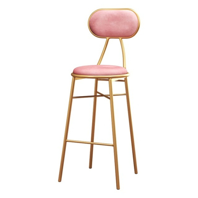Northern Europe Light Luxury Bar Chair Ins Simple Net Red Bar Chair Front Desk Dining Room Leisure Chair Back High Foot Stool