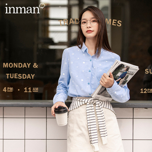 INMAN 2020 Autumn Winter New Arrival Commuter Literary Cotton Printing Comfortable Solid Color Long Sleeve Shirt Blouse