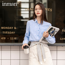 INMAN Autumn Winter Commuter Literary Cotton Printing Comfortable Solid Color Long Sleeve Shirt Blouse