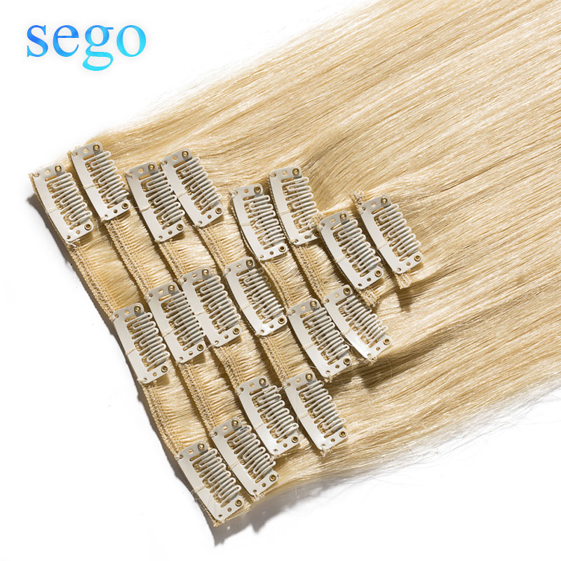 """SEGO 8""""-24"""" 45g-75g Straight Clip In Human Hair Extensions 8pc/set Natural Non-Remy  Hair Clip Ins Brazilian Hair"""