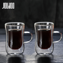 JOUDOO 1/2/4/6/8PCS 80ml Double-layer Glass Coffee Cup European-style Mug with Handle Espresso Cups Cafe 35