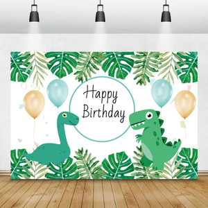 Image 4 - Laeacco Geburtstag Kulissen Dschungel Party Jurassic Welt Dinosaurier Neugeborenen Fotografie Hintergründe Baby Dusche Photophone Photocall