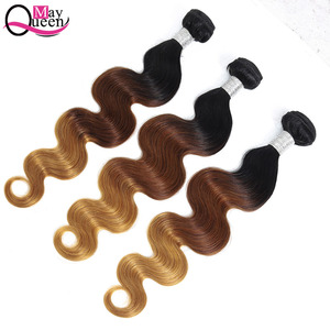 Image 4 - Può queen hair Ombre Brasiliano Onda Del Corpo 3 & 4 Pezzi T1B/4/27 Tre Tonalità di Colore Dei Capelli di Remy estensioni 100% Dei Capelli Umani Del Tessuto Bundles