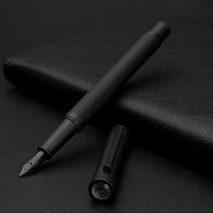 Image 1 - Novo clássico de luxo 0.5mm preto f nib caneta caneta cheia metal clipe canetas para assinatura negócios escrita material escritório da escola