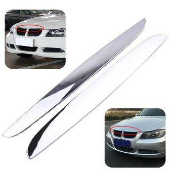 2Pcs Chrome ABS Front Bumper Above Kidney Grille Hood Cover Trim 51137117242 for BMW 3 Series E90 E91 2006-2008 image
