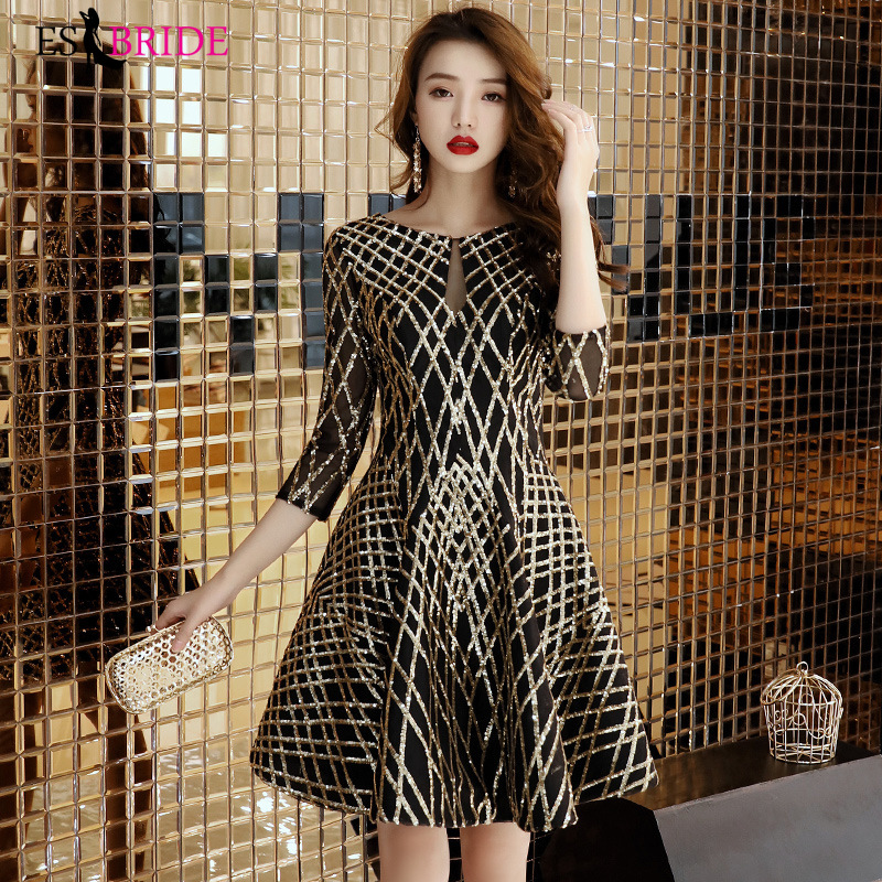 Black Gold Sequin Cocktail Dresses ES2966-1 A-line Round Neck Half Sleeve Vintage Mini Homecoming Dress Fashion Party Gowns
