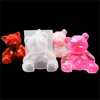3D Bear Silicone Mold DIY Geometry Stereo Mirror Decoration Ornament Crystal Epoxy