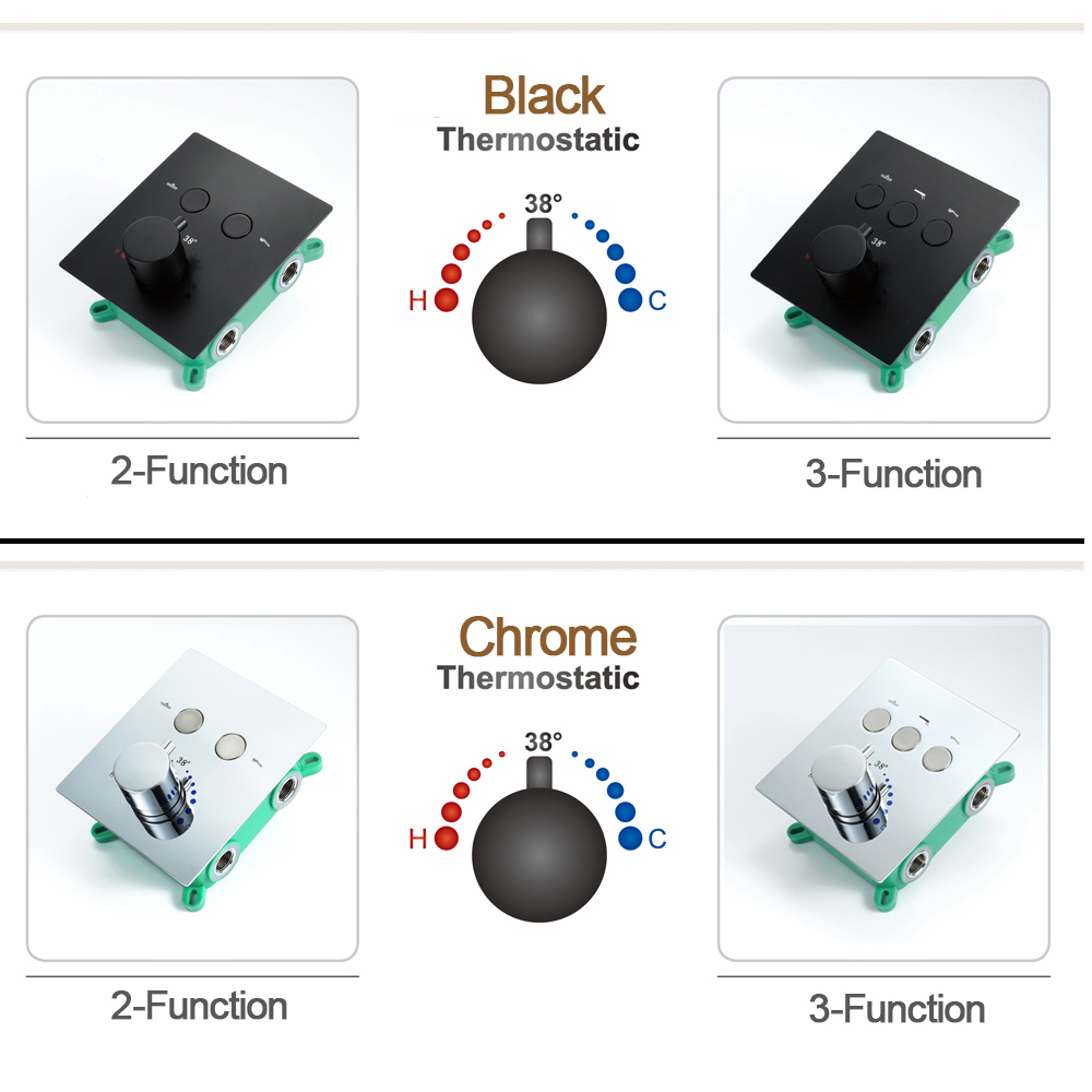 Shower Mixer Switch Valve Bathroom Shower Faucets Thermostatic  Black Chrome Shower Controller With Embedded Box