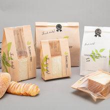 Papel kraft pão claro evitar a embalagem de óleo brinde com janela saco de cozimento takeaway pacote de alimentos bolo festa
