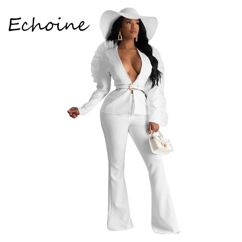 Fashion Blazer Set Women Suits Organza Deep V-neck Long Sleeve Coat + Long Wide Pants Two Piece Set Women Tracksuit Autumn