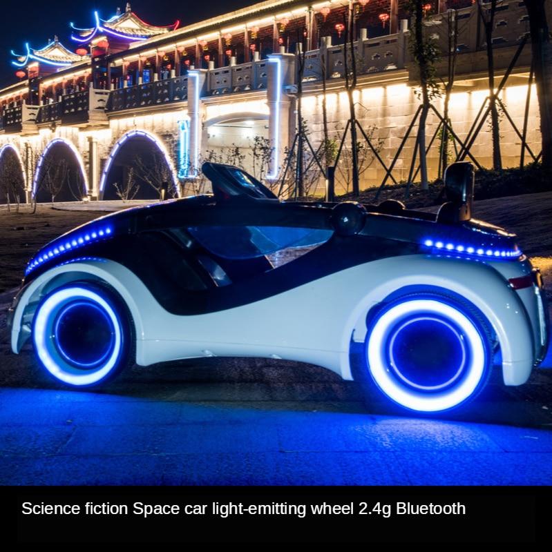 Coche eléctrico de ciencia ficción para niños, cinturón de cuatro ruedas, control remoto, bebé, puede sentarse, coche de juguete, coche eléctrico para bebé - 2