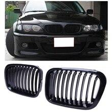 Спереди почек решетки совместимый для BMW E46 3 серии 320I 325I 325Xi 323I 328I 330I 4D 4 двери 1998-2001 черный глянец 51138208489 5