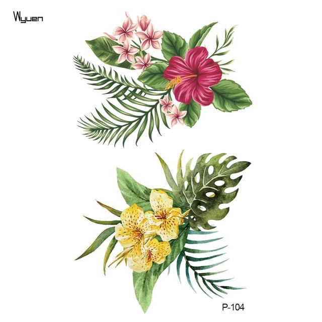 Wyuen Flower Waterproof Temporary Tattoo Stickers for Women on The Body Art Blossom Fake Tattoo 9.8X6cm Translated Tatoo P-029 1