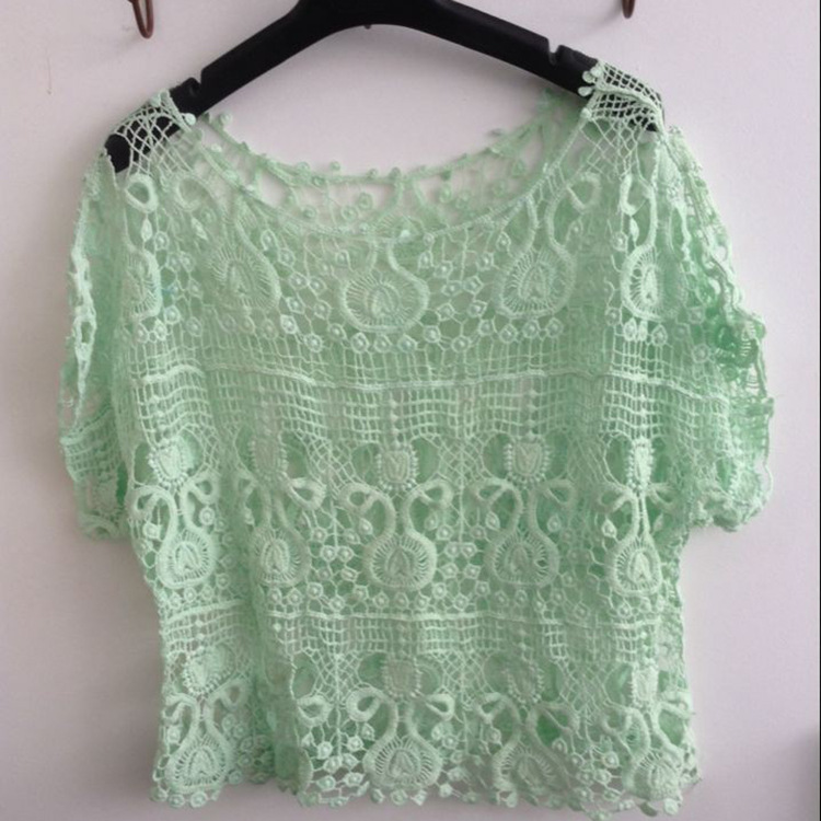 33106 #2019 Handmade Crochet Thin Hollow Out Knitted Blouse Loose And Plus-sized Women's-Shawl Summer Versatile