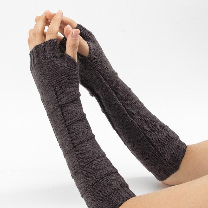 Autumn Winter Wool Half Finger Gloves For Men Women Knitted Warm Fingerless Long Knit Mittens Outdoor Arm Warmers Female Gloves