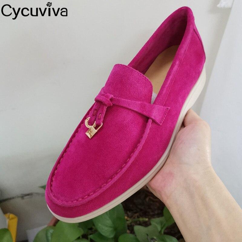 Туфли женские замшевые без застежки, лоферы, круглый носок, металлический замок, декоративные, без задника, повседневная Летняя обувь