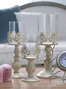 Candle-Holders Glass Wedding-Decoration Tall Metal Vintage Crafts Romantic White 1pcs