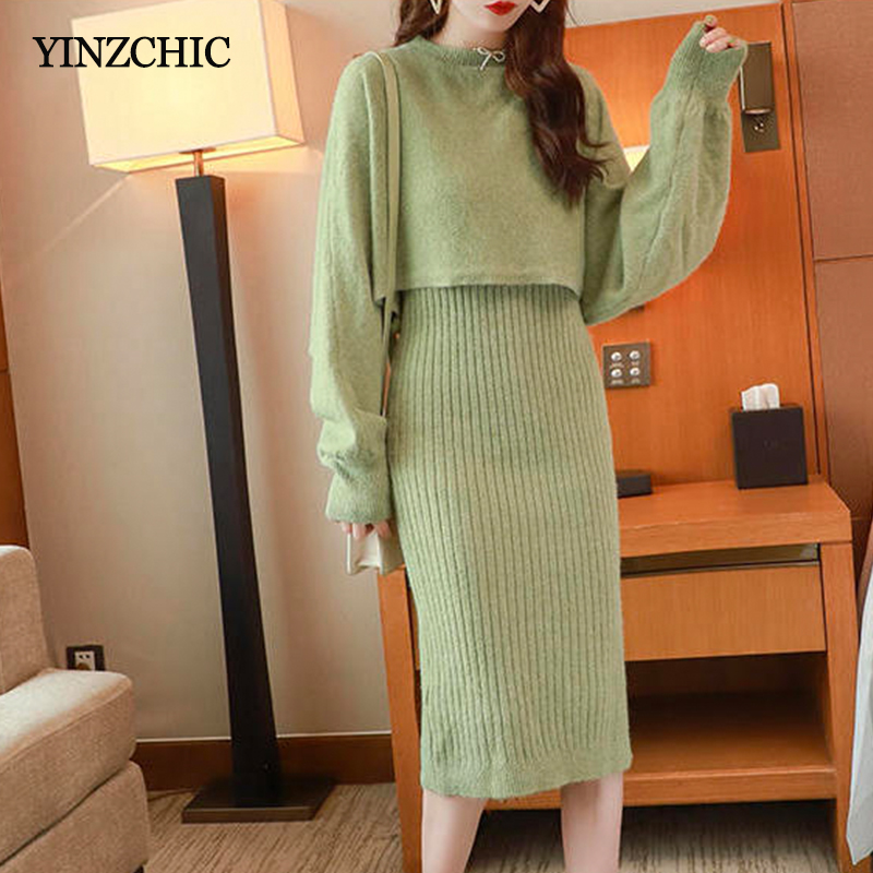 New Woman Knitted Two-pieces Set Loose Short Sweater + Vest Pencil Dress Suit Solid Warm Knit Casual Sets