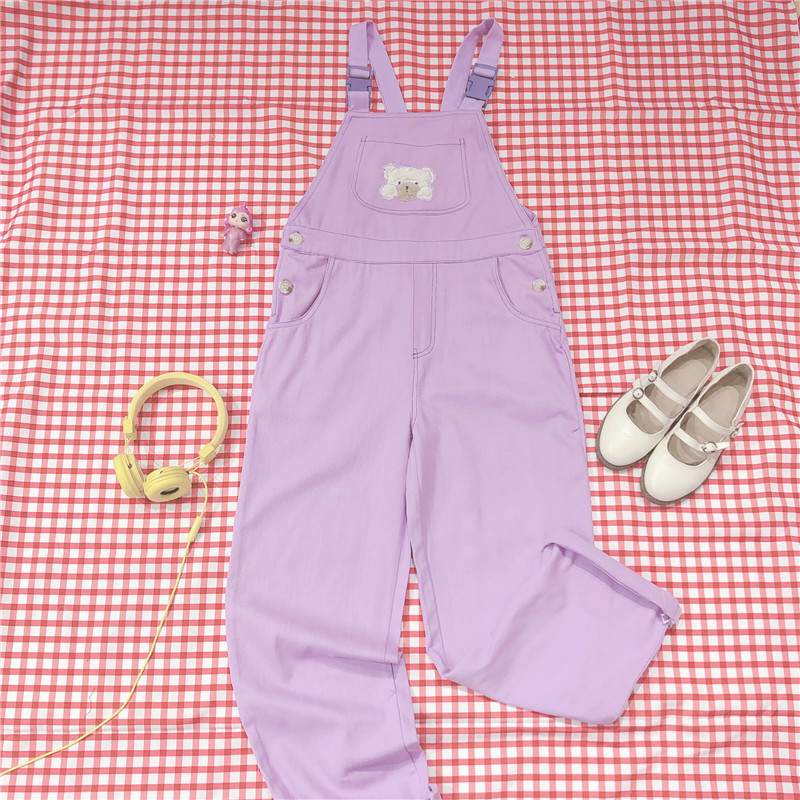 Japanese Kawaii High Waist Pants Women Trousers Korean Street Loose Purple Overalls Harajuku Soft Girl Cute Bear Jumpsuit Romper